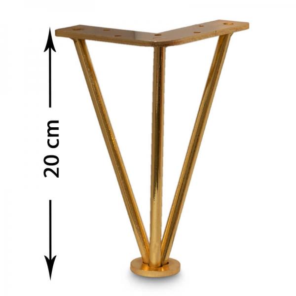 پایه مبل مفتولی طلایی 20 سانت