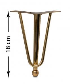 پایه مبل خمیده طلایی 18 سانت